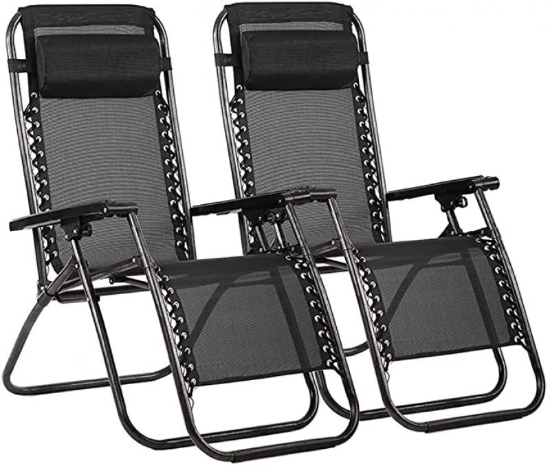 ihocon: FDW Zero Gravity Chair Patio Lounge Recliners, Set of 2 零重力休閒躺椅