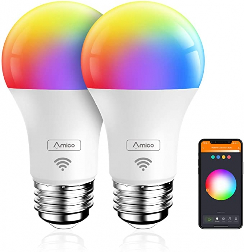 ihocon: Amico Smart Light Bulb, Music Sync RGBCW Color Changing, No Hub Required, Compatible with Alexa, Siri, Google Home 音樂同步彩色智能燈泡2個