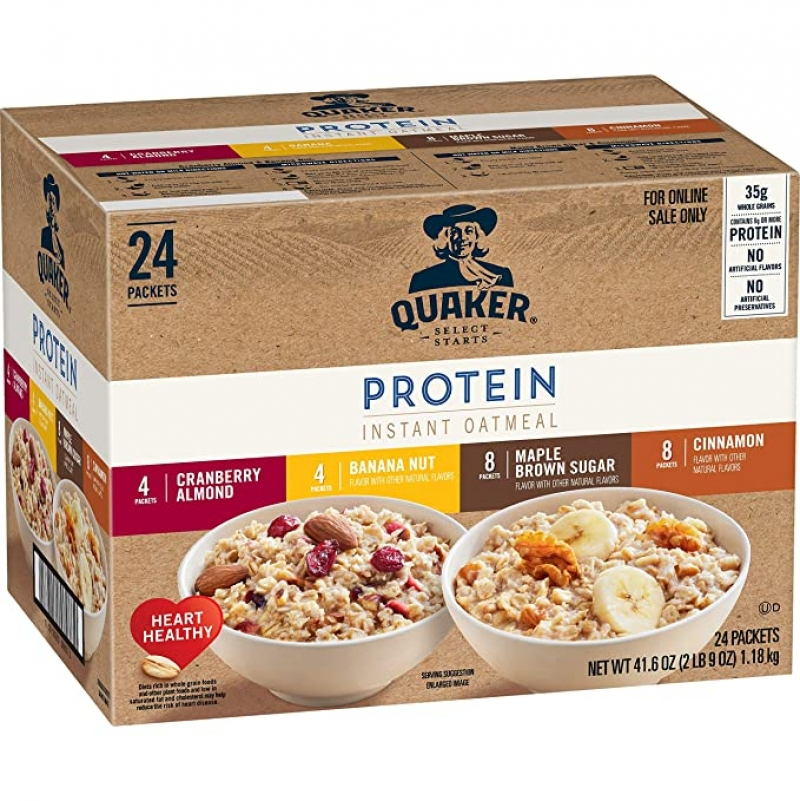 ihocon: Quaker Instant Oatmeal, Protein 4 Flavor Variety Pack, 24 Count 桂格牌速溶燕麥