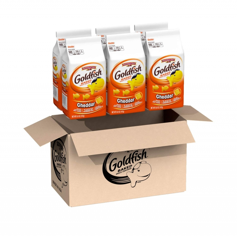 ihocon: Pepperidge Farm Goldfish Cheddar Crackers, 39.6 Oz. Box, 6-Count 6.6 Oz. Bags 小魚餅乾