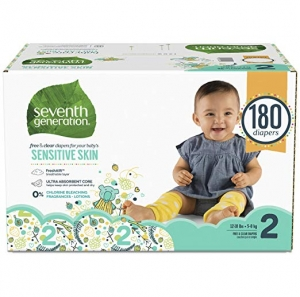 ihocon: Seventh Generation Baby Diapers for Sensitive Skin, Animal Prints, Size 2, 180 Count 嬰兒尿片