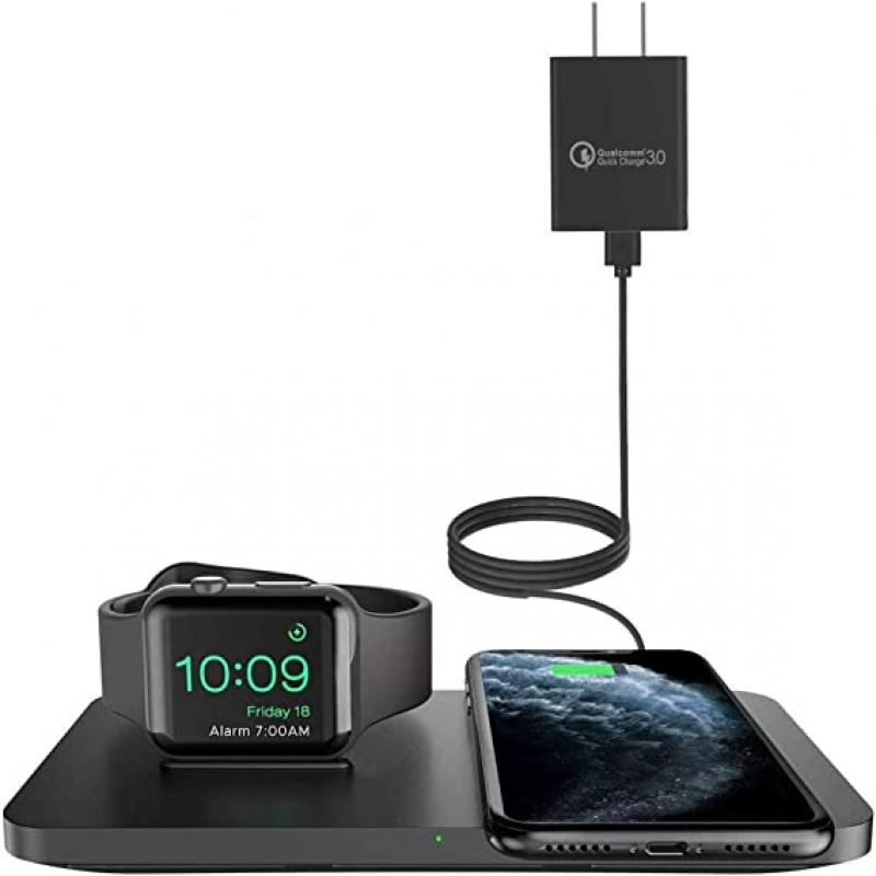 ihocon: Seneo 2 in 1 Wireless Charging Pad with iWatch Stand 手機/手錶無線充電板