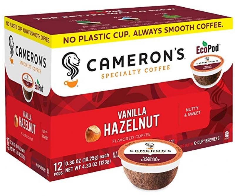 ihocon: Cameron's Coffee Single Serve Pods, Flavored, Vanilla Hazelnut, 12 Count (Pack of 6) 香草榛果口味咖啡膠囊