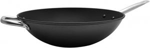 ihocon: Imusa USA 14 Light Cast Iron Wok Pre-seasoned Non-Stick with Stainless Steel Handles Cookware, Black  輕鑄鐵炒