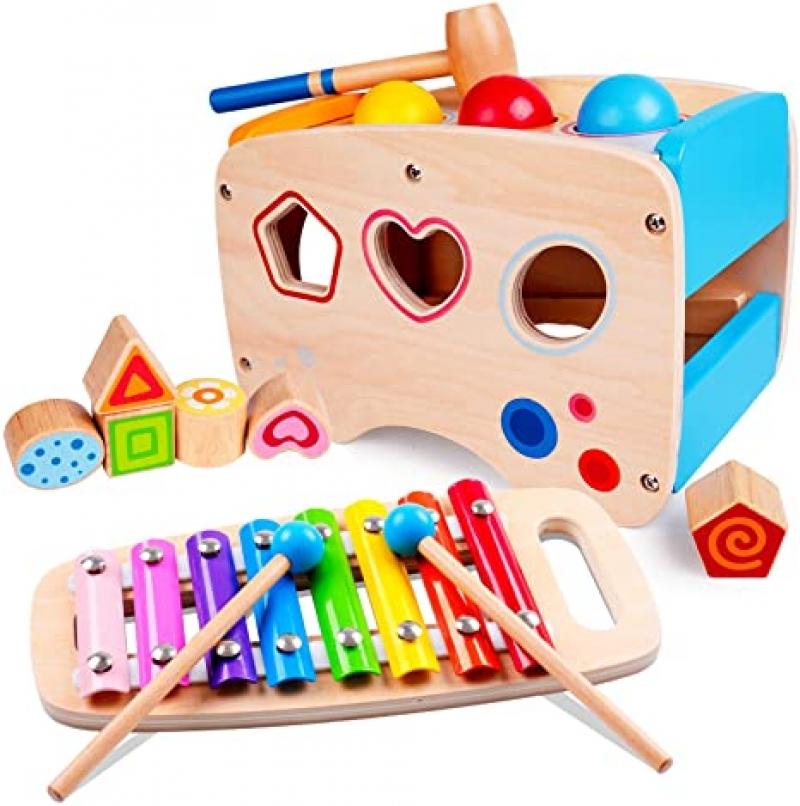 ihocon: rolimate Hammering Pounding Toys Wooden Educational Toy Xylophone Shape Sorter 木製玩具2個