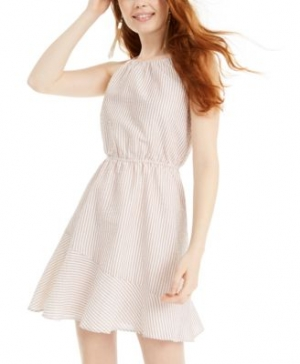 ihocon: Sequin Hearts Juniors' Textured-Stripe A-Line Dress 女士洋裝