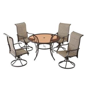 ihocon: Hampton Bay Riverbrook Espresso Brown 5-Piece Outdoor Dining Set 室外餐桌椅