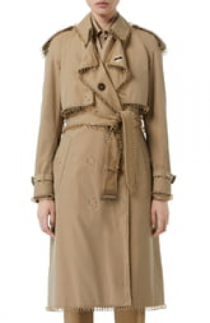 ihocon: BURBERRY Pierced Double Breasted Cotton Trench Coat 純棉風衣