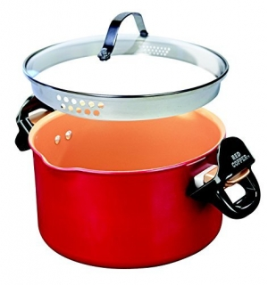 ihocon: Red Copper Better Pasta Pot by BulbHead, Locking Handles and Straining Lid (As Seen on TV) 煮麵鍋