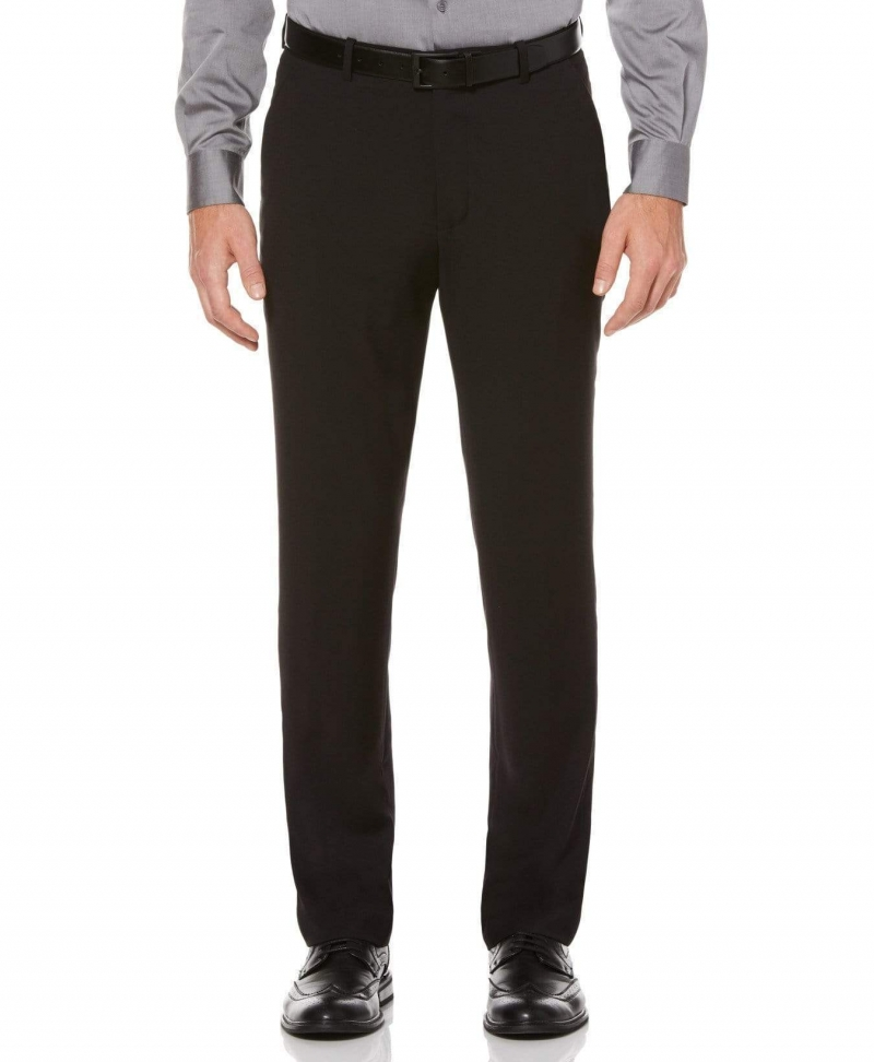 ihocon: Perry Ellis Men's SLIM FIT SOLID SUIT PANT, Black男士西裝褲