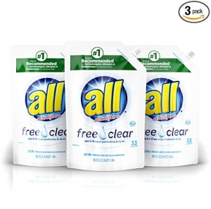 ihocon: all Liquid Laundry Detergent Easy-Pouch, Free Clear for Sensitive Skin, 3 Count, 99 Total Loads 洗衣劑3包