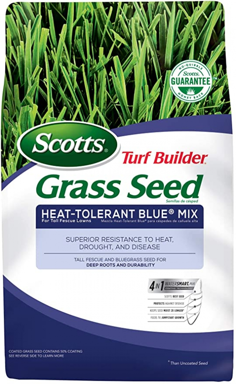 ihocon: Scotts Turf Builder Grass Seed Heat-Tolerant Blue Mix For Tall Fescue Lawns, 3 Lb. 草地種子
