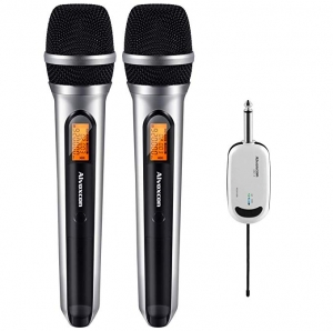 ihocon: Alvoxcon DUAL Wireless Microphone System for iPhone, Computer, Karaoke, Conference 無線麥克風系統