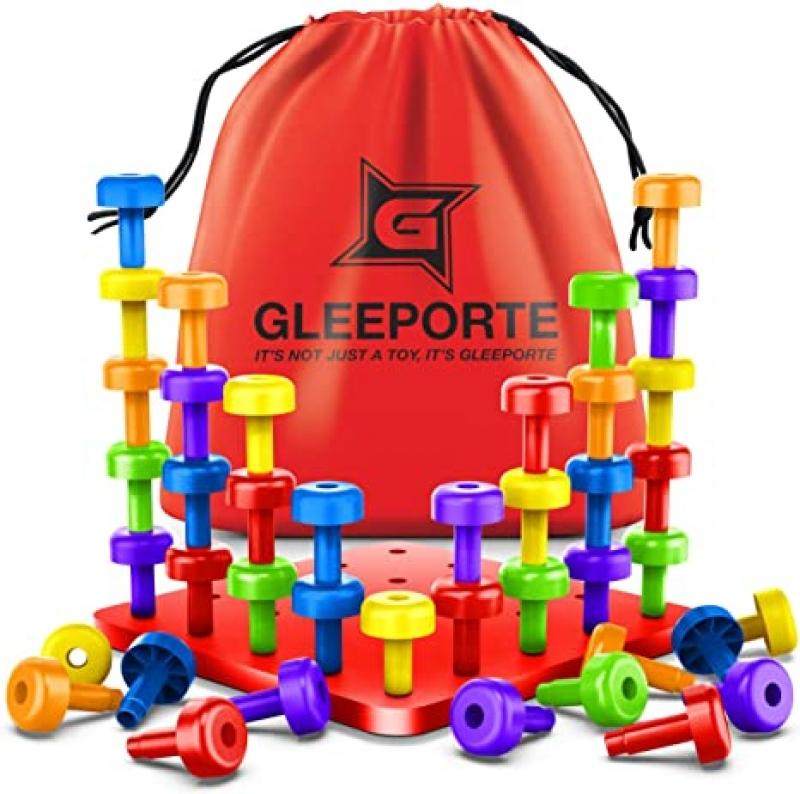 ihocon: Gleeporte STEM Color Learning Sorting Matching Stacking Peg Board Set 益智玩具