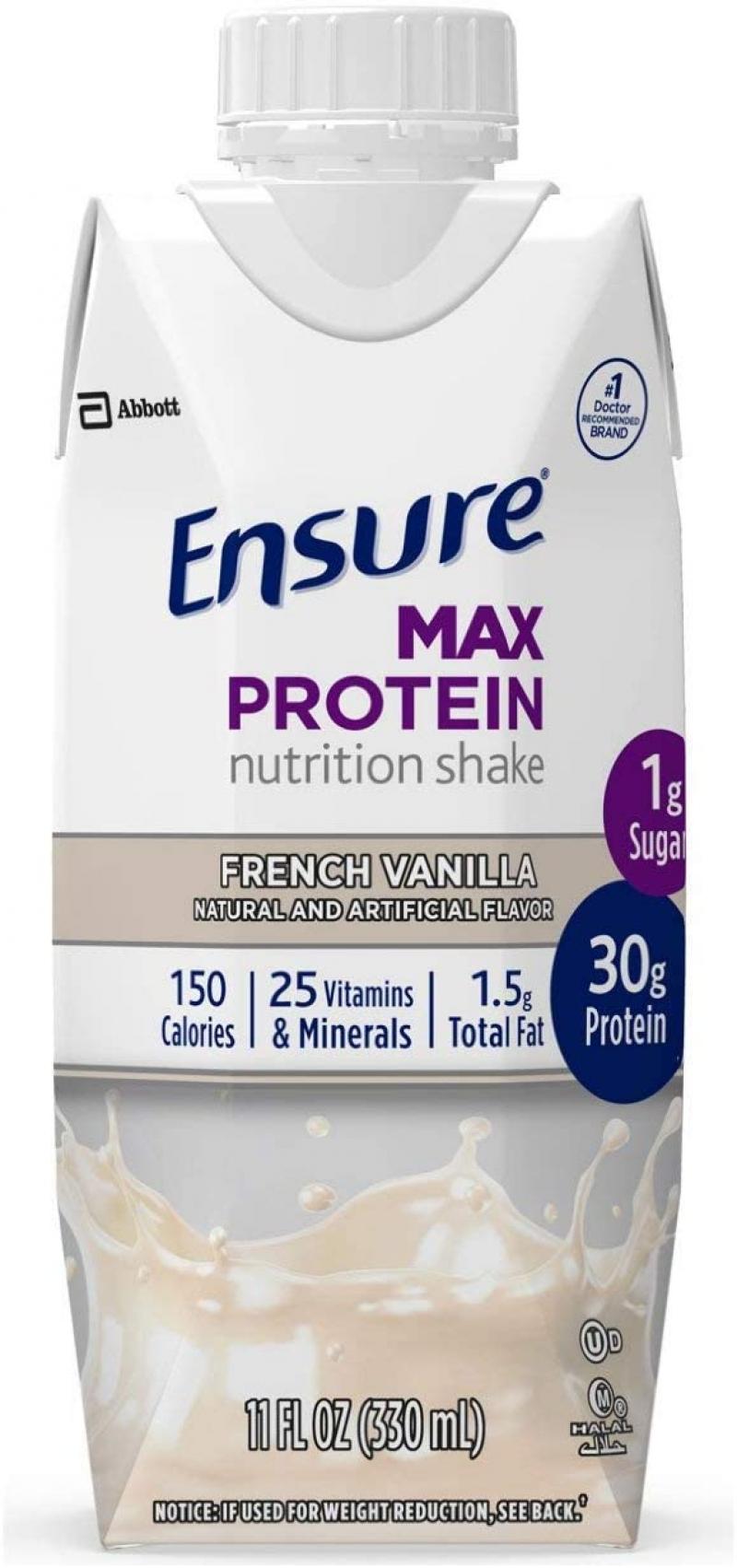 ihocon: Ensure Max Protein Nutritional Shake, French Vanilla, 11 fl oz, 12 Count 蛋白質營養奶昔