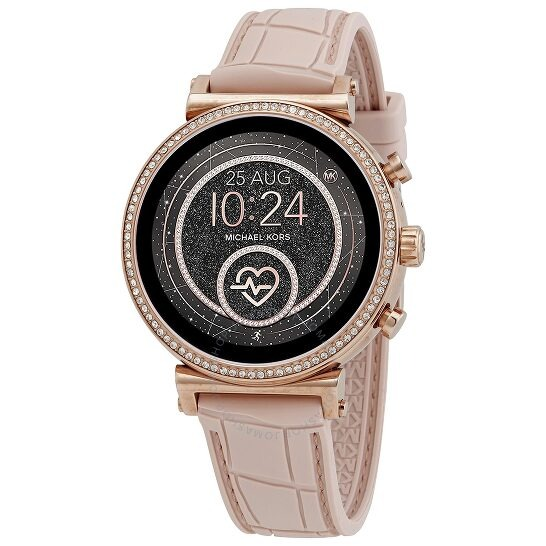 ihocon: Michael Kors Access Gen 4 Sofie Rose Gold-tone and Embossed Silicone Smartwatch MKT5068 智能錶