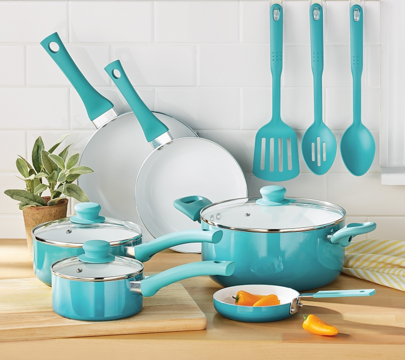 ihocon: Mainstays Ceramic Nonstick 12 Piece Cookware Set 陶瓷不粘鍋組-2色可選
