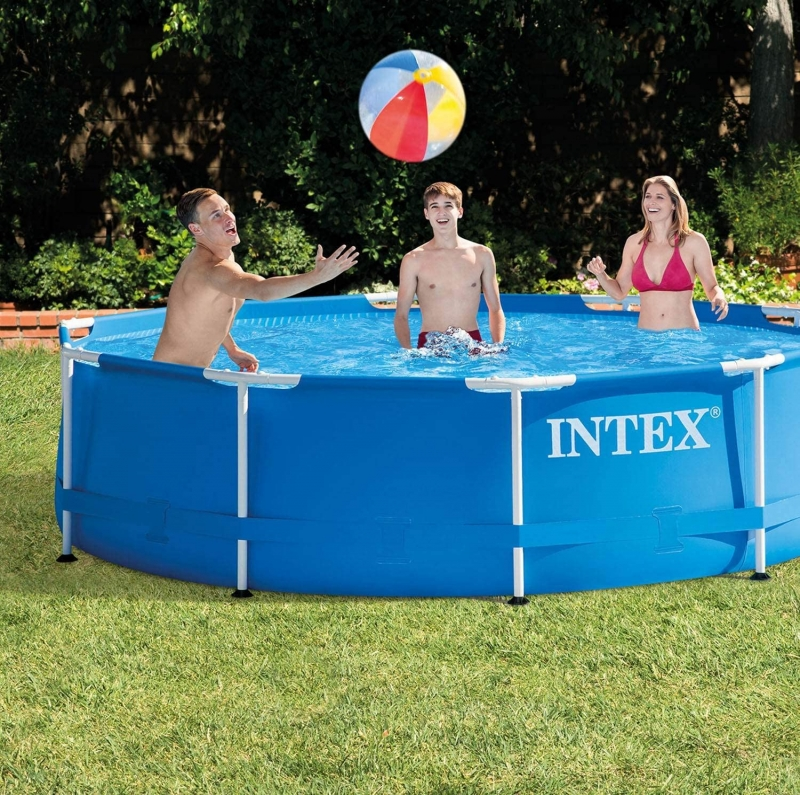 ihocon: Intex 28200EH 10 Foot x 30 Inch Outdoor Metal Frame Above Ground Round Swimming Pool (Pump Not Included)金屬框架游泳池