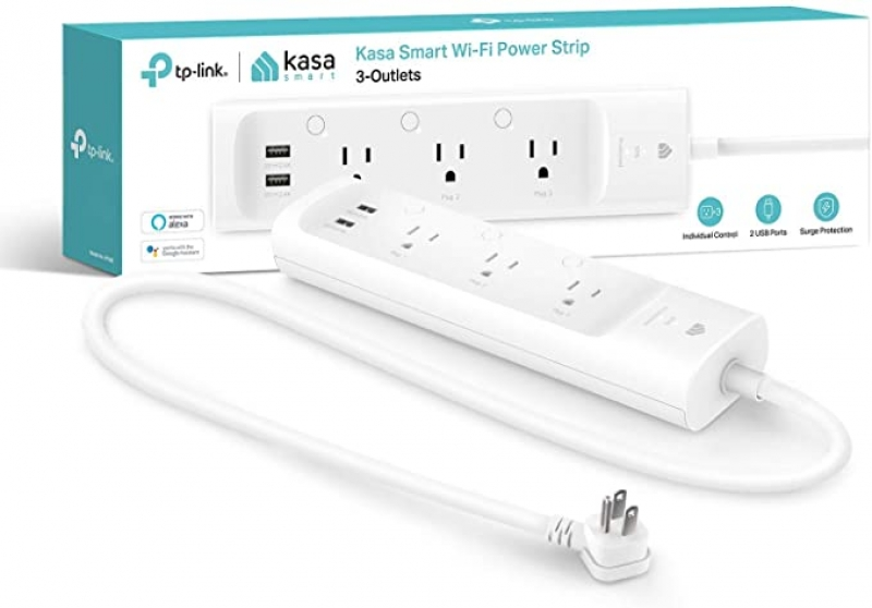 ihocon: [不在家也能遙控電器] Kasa Smart Plug Power Strip, Surge Protector w/ 3 Smart Outlets and 2 USB Ports, Works with Alexa Echo & Google Home , No Hub Required 智能電湧保護延長線