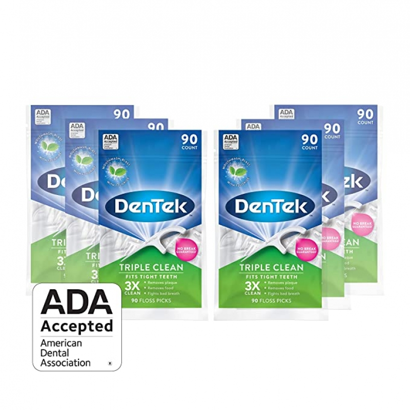 ihocon: DenTek Triple Clean Floss Picks | No Break Guarantee | 90 |, Fresh Mint Pack of , 6 Count 不斷牙線