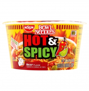 ihocon: Nissin Bowl Noodles Hot & Spicy Beef Flavor Ramen Noodle Soup, 3.28 oz (12 pack) 日清香辣牛肉味碗麵 12碗