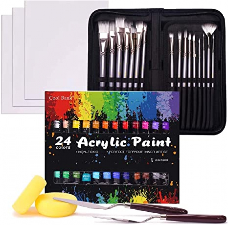 ihocon: Cool Bank Professional Painting Supplies Set, 48-Piece 壓力克顏料+筆刷套裝