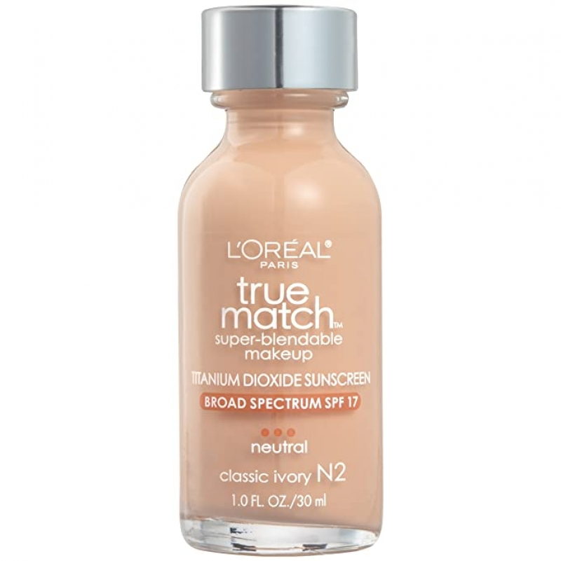 ihocon: L'Oreal Paris Makeup True Match Super-Blendable Liquid Foundation, Classic Ivory N2, 1 Fl Oz 粉底液