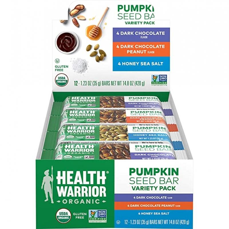 ihocon: Health Warrior Organic Pumpkin Seed Protein Bars, 12 Count 有機南瓜籽蛋白棒