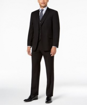 ihocon: Tommy Hilfiger Men's Modern-Fit THFlex Stretch Black Twill Vested Suit 男士西裝一套