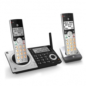 ihocon: AT&T CL83207 DECT 6.0 Expandable Cordless Phone with Smart Call Blocker with 2 Handsets (Silver/Black) 擴充無線家用答錄電話機