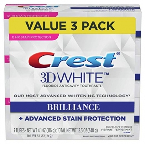 ihocon: Crest Toothpaste 3D White Brilliance Vibrant Peppermint, 4.1oz (Pack of 3) 牙膏