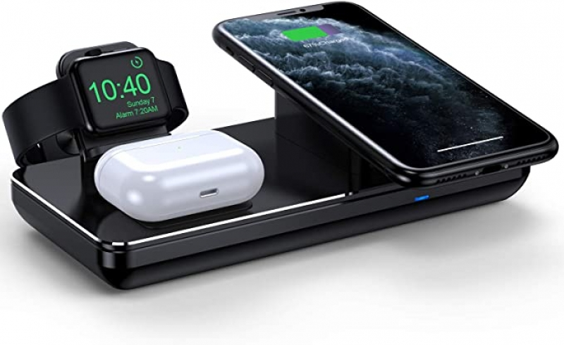 ihocon: Joyeky Wireless Charging Station for Apple Watch iPhone & AirPods Pro 3合1 手機/手錶/耳機無線充電器(適用Apple商品)