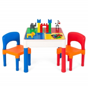 ihocon: Best Choice Products 3-in-1 Kids Building Block Activity Play Table Set w/ Storage, 2 Chairs 3合1兒童遊戲桌及椅子