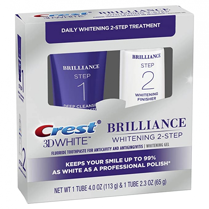 ihocon: Crest 3D White Brilliance 2 Step Kit, Deep Clean Toothpaste (4oz) + Teeth Whitening Gel (2.3oz) 美白牙膏及牙齒美白凝膠