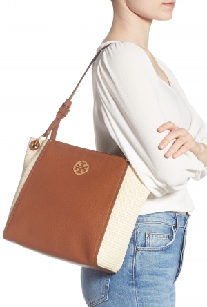 ihocon: TORY BURCH Everly Leather & Straw Hobo 包包