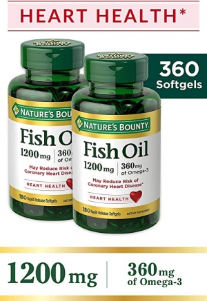 ihocon: Nature's Bounty Fish Oil 1200 mg Twin Packs, 180-Count per bottle (360 Total Count) Rapid Release Liquid Softgels 魚油