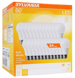 ihocon: SYLVANIA General Lighting 74765 A19 Efficient 8.5W Soft White 2700K 60W Equivalent A29 LED Light Bulb (24 Pack)