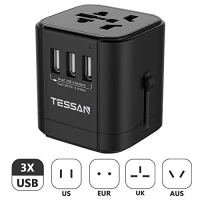 ihocon: TESSAN International Power Plug Adapter with 3 USB Charging Ports 萬用旅行插座