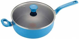 ihocon: T-fal C96933 Excite Nonstick Thermo-Spot Dishwasher Safe Oven Safe PFOA Free Jumbo Cooker Cookware, 4.5-Quart, Blue 不粘鍋
