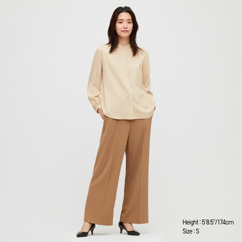ihocon: UNIQLO WOMEN RAYON BAND COLLAR LONG-SLEEVE BLOUSE 女士長袖襯衫-多色可選