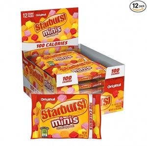 ihocon: STARBURST Minis 100 Calories Original Fruit Chew Candy .95-Ounce Bag (Pack of 12) 水果糖