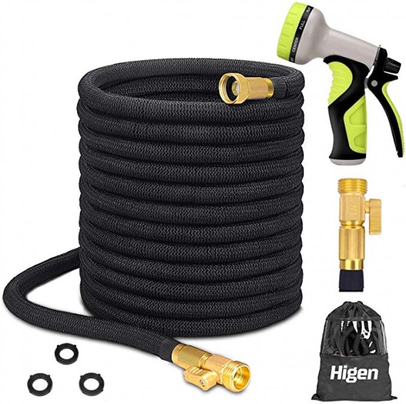 ihocon: Higen 100ft Upgraded Expandable Garden Hose Set with 9 Function Spray Nozzle and Storage Bag 伸縮澆花水管, 含噴水頭及收納袋
