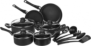 ihocon: AmazonBasics Non-Stick Cookware Set, Pots, Pans and Utensils - 15-Piece Set 不沾鍋組
