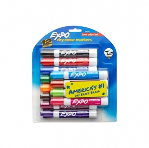 ihocon: EXPO Low Odor Dry Erase Markers, Chisel Tip, Assorted Colors, 12 Count 低氣味白板筆