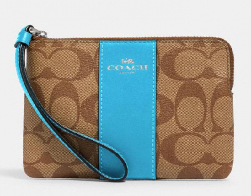 ihocon: Coach corner zip wristlet in signature canvas 手腕包