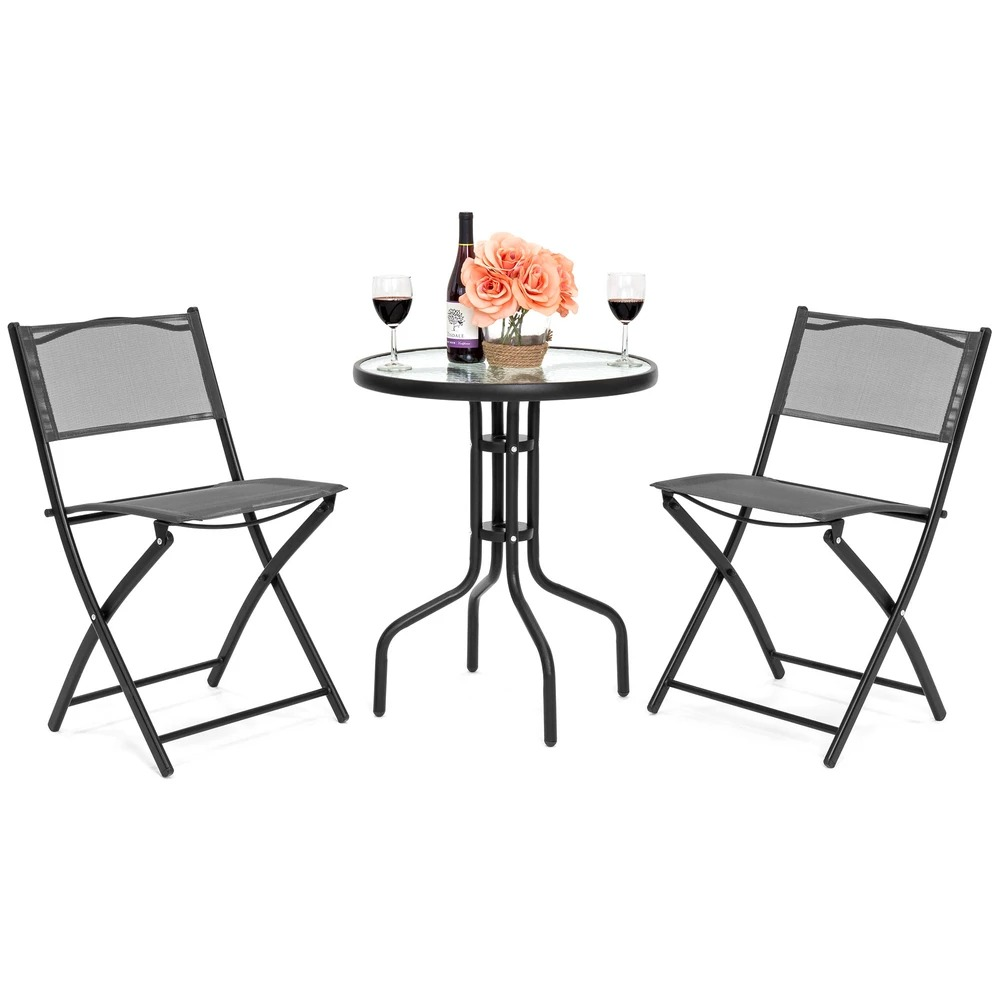 ihocon: Best Choice Products 3-Piece Bistro Set w/ Glass Table, 2 Foldable Chairs 3件式玻璃桌及折疊椅