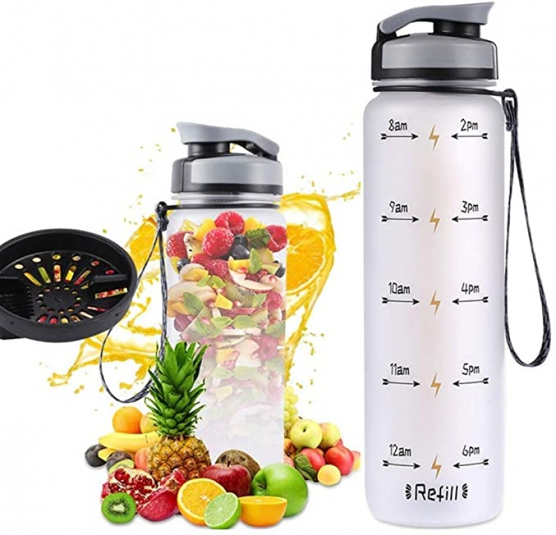 ihocon: COSCOD Motivational Water Bottle with Time Marker Tracker, 24 Oz, 時間刻度水瓶