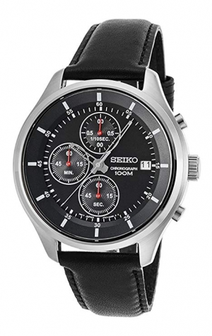 ihocon: Seiko Neo Sports Chronograph Quartz Black Dial Men's Watch 精工男錶
