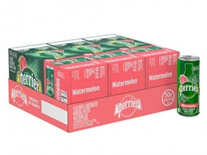 ihocon: Perrier Sparkling Mineral Water, Watermelon, 8.45 fl oz. Slim Cans (Pack of 30) 氣泡礦泉水