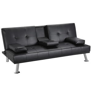 ihocon: LuxuryGoods Modern PU Leather Futon w/ Armrests & Cupholders, Black 仿皮沙發床